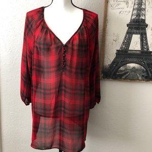 Chaps Denim Red & Black Plaid Sheer Blouse Size XL